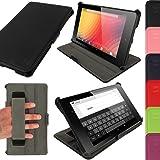 igadgitz Schwarz PU Ledertasche Hülle für Google Nexus 7 FHD 2013 Model 2. Generation Mit Multi-Winkel Betrachtungs-stand + Handschlaufe + Auto Sleep/Wake + Displayschutzfolie