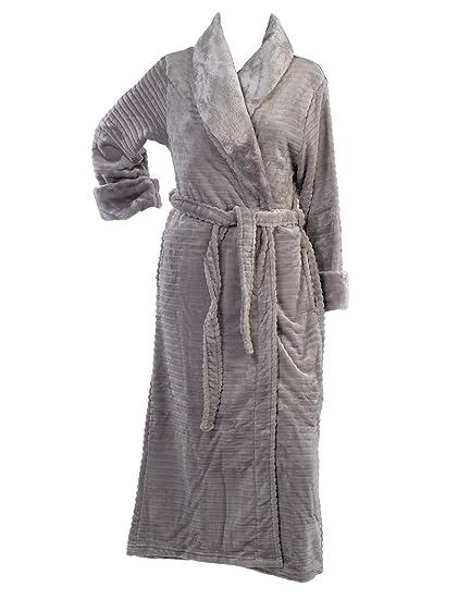 af1e467eab Slenderella Ladies Ribbed Style Dressing Gown Faux Fur Shawl Collar Wrap  Bath Robe XL (Grey)  Amazon.co.uk  Clothing
