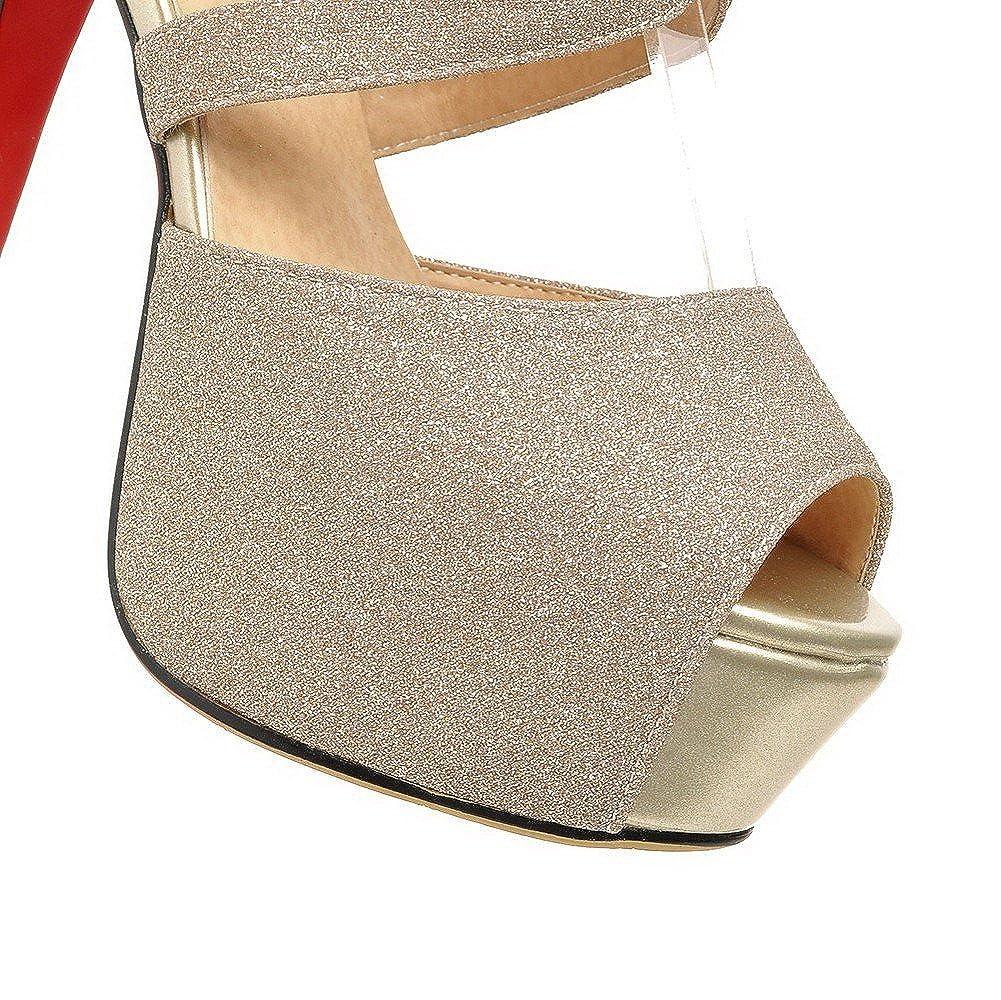 Amazon.com: AgooLar Womens Peep Toe High-Heels Soft ...