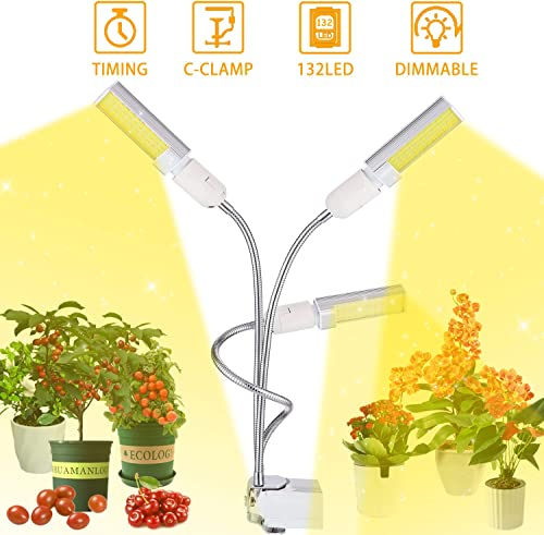 BINKBANG Grow Light 68W LED Grow Lamps for Indoor Plants Full Spectrum Sunlike Growing Lights 132 LEDs Tri-Head Growth Light Bulbs for Seedling Growing Blooming Fruiting 3 6 12H Timing 5 Dimmable