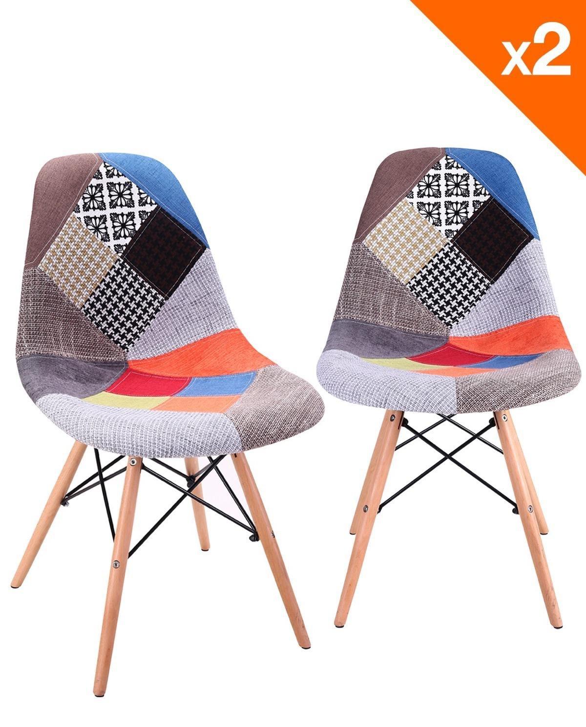 KAYELLES Chaises DSW NADIR - rembourrée et tissu patchwork - Lot de 2 chaises Design de Cuisine - Salle à Manger - Salon