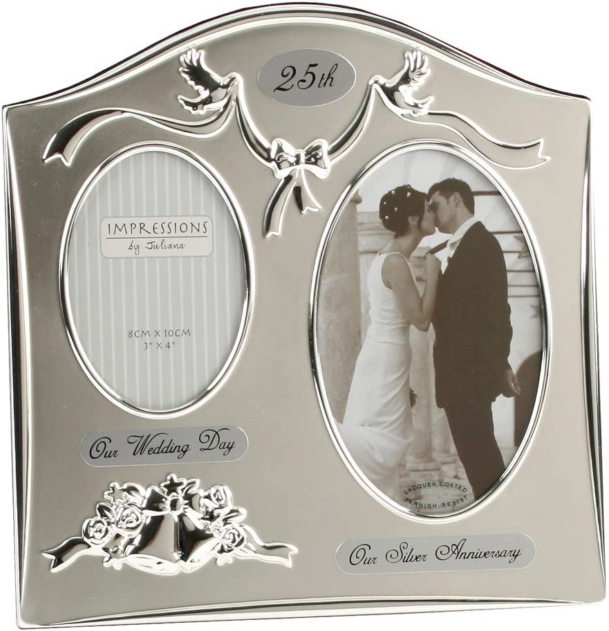 Amazon Com Two Tone Silverplated Wedding Anniversary Gift Photo Frame 25th Silver Silver Gifts For Anniversary