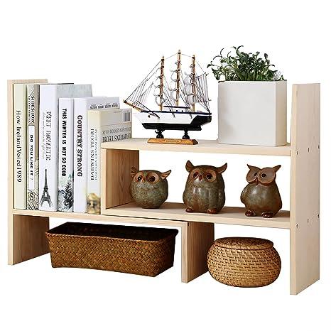 Adjustable Desktop Bookshelf Creatwo Natural Wood Storage Organizer Counter Top Bookcase Beige