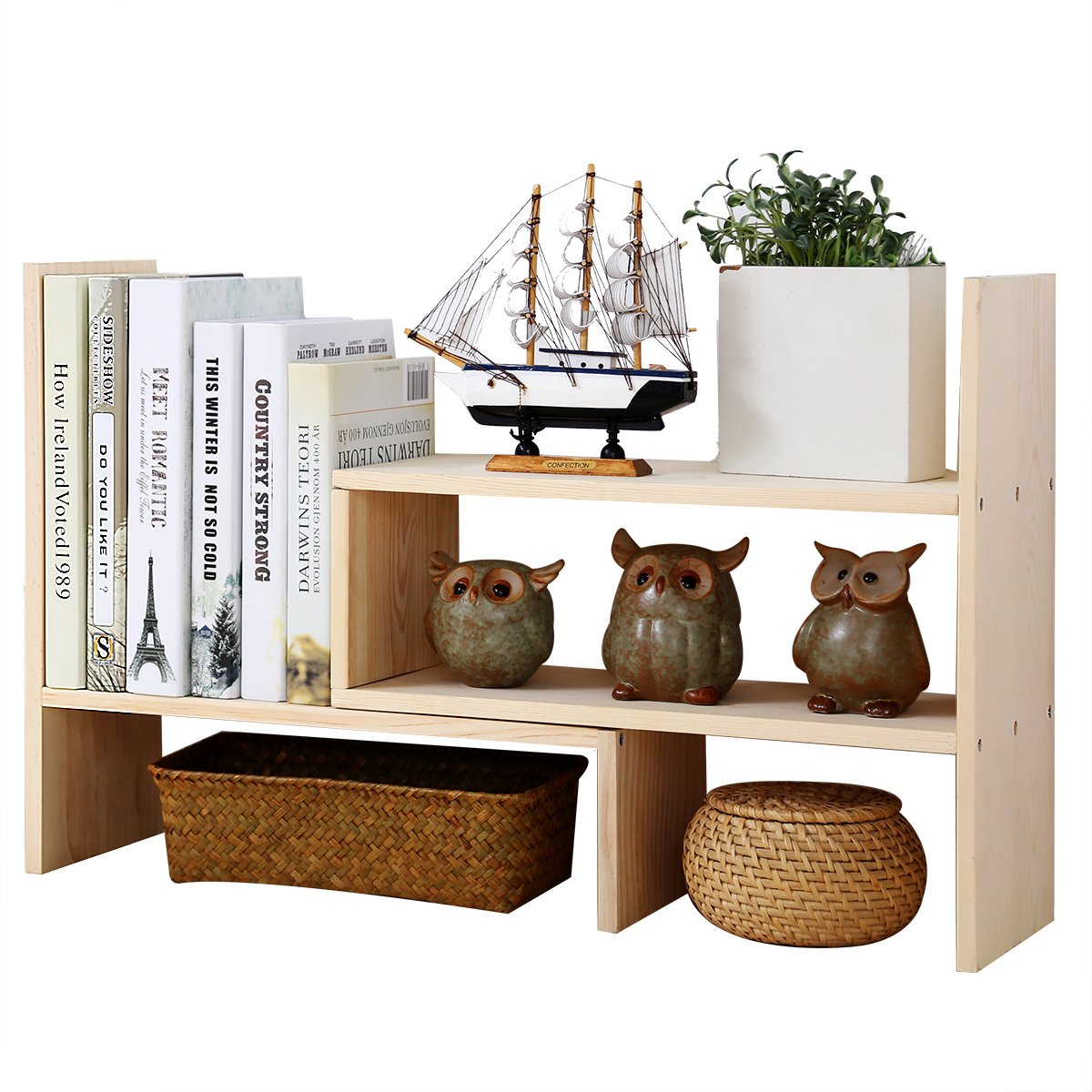 Adjustable Desktop Bookshelf, Creatwo Natural Wood Desktop Storage Organizer, Counter Top Bookcase, Beige