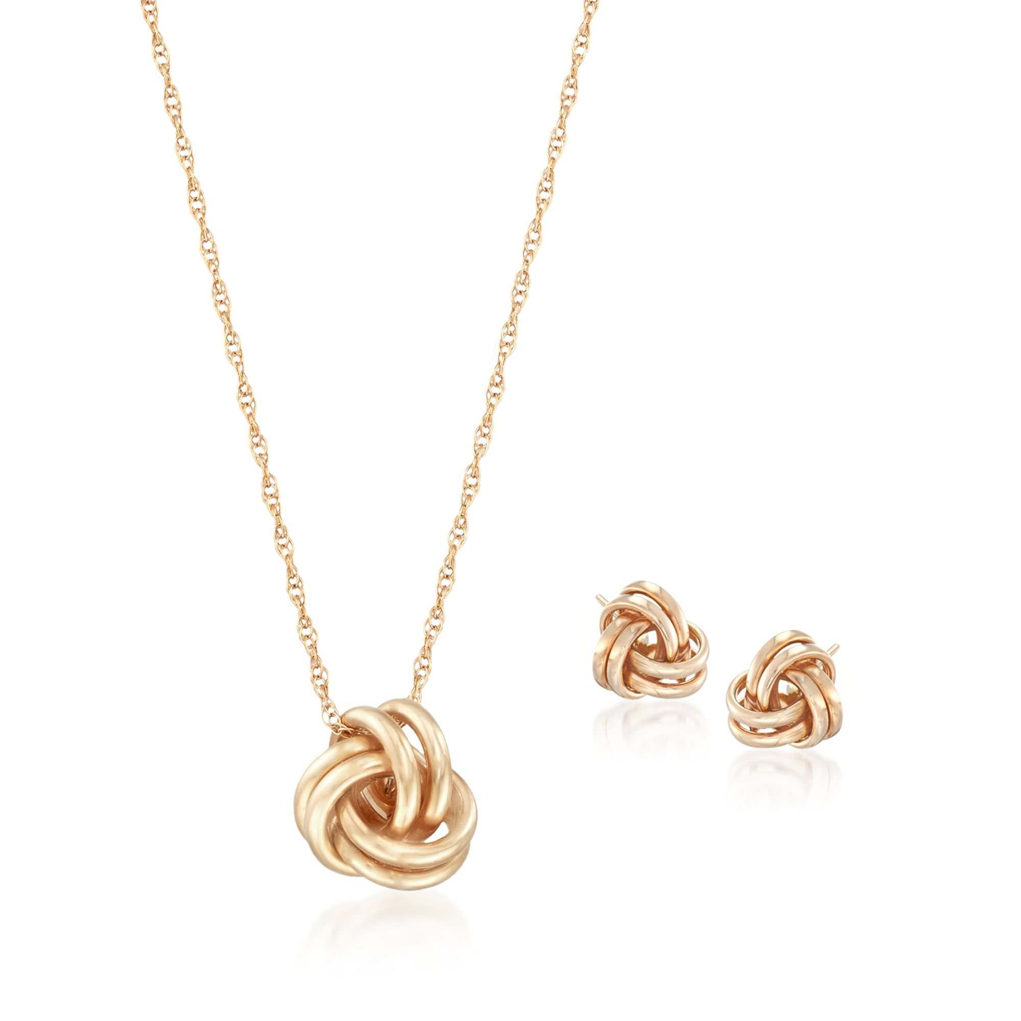 Ross-Simons 14kt Yellow Gold Love Knot Jewelry Set: Necklace and Earrings