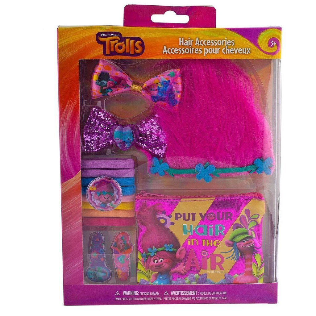 Townley Girl Dreamworks Trolls Hair Accessory Set for Girls; Tiara, Hair Bows, Hair Ties, Bobby Pins and Bag by Townley
