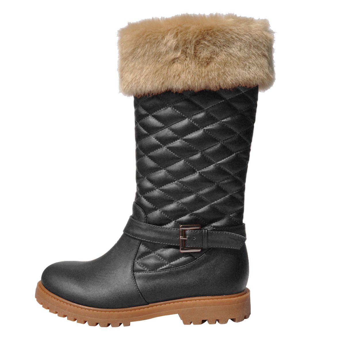 DYF Frauen Schuhe Stiefel Kurze Stiefel Schuhe mit flachem Boden runder Kopf Gürtelschnalle Warm Schwarz 42 ab3d89