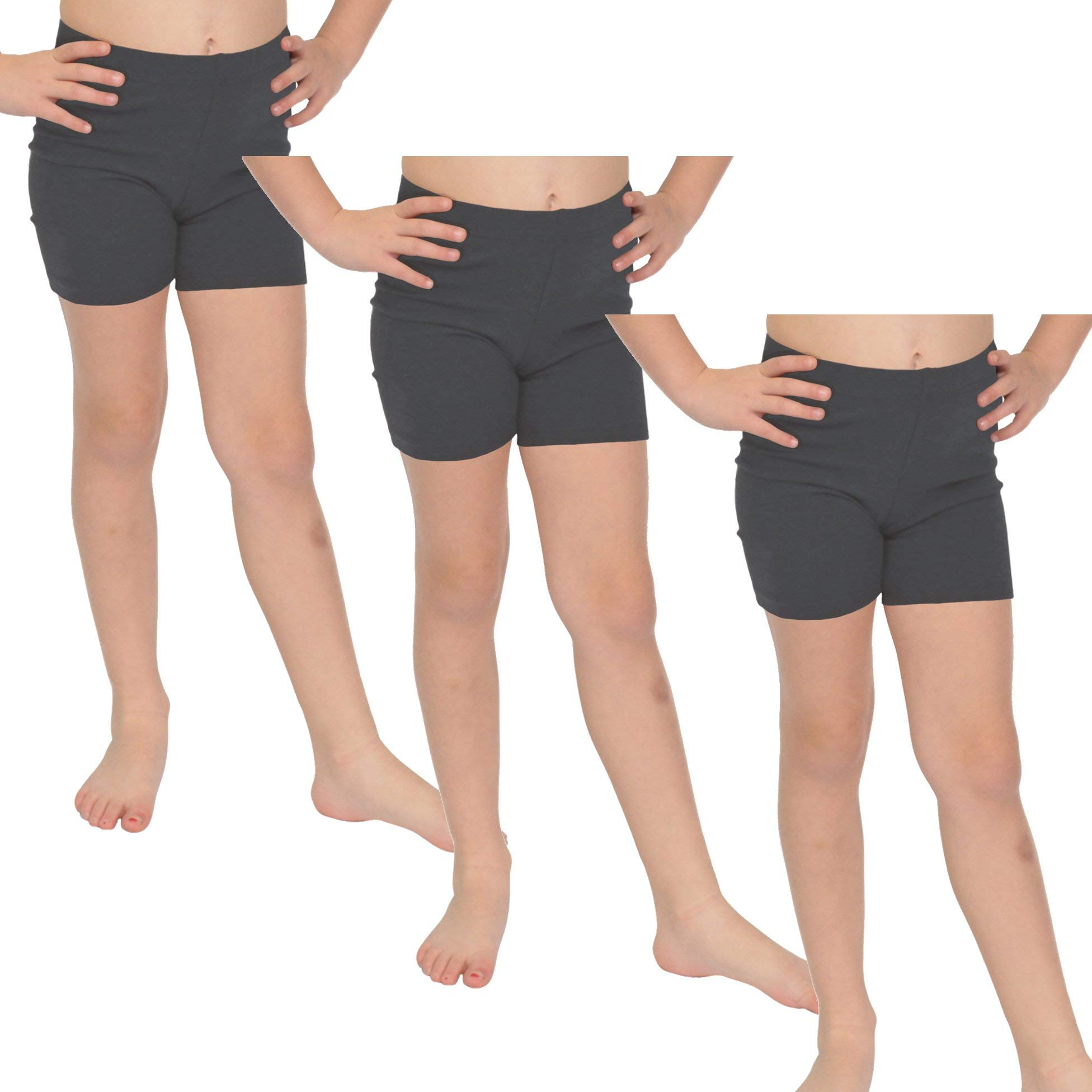 Stretch is Comfort Girl's Cotton Biker Shorts Set of 3 Pieces Charcoal Gray Small by Stretch is Comfort