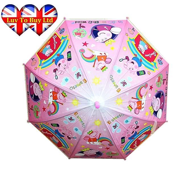 Peppa Pig niño de cúpula paraguas con silbato.