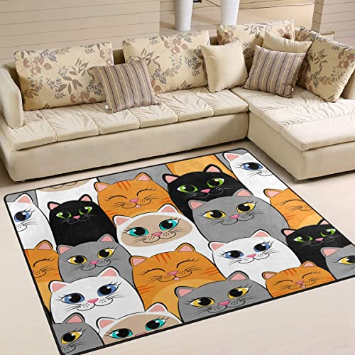 ALAZA Cartoon Cat Kitten Face Animal Area Rug Rug