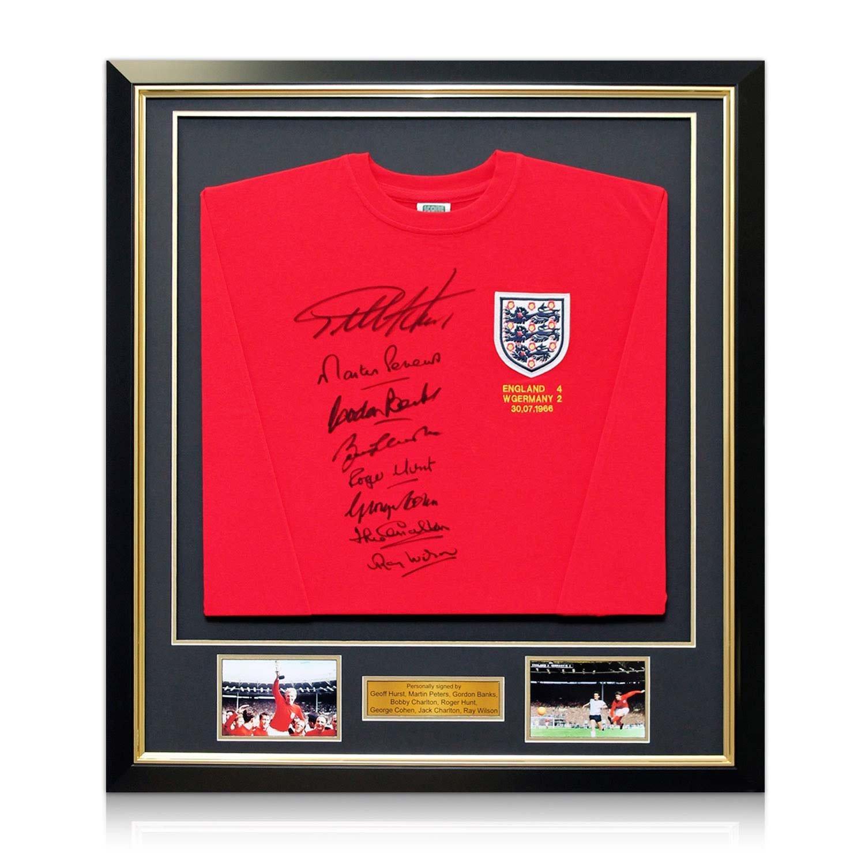 England WM 1966 Winning Team signiertes T-Shirt. Im Deluxe-Schwarz ...