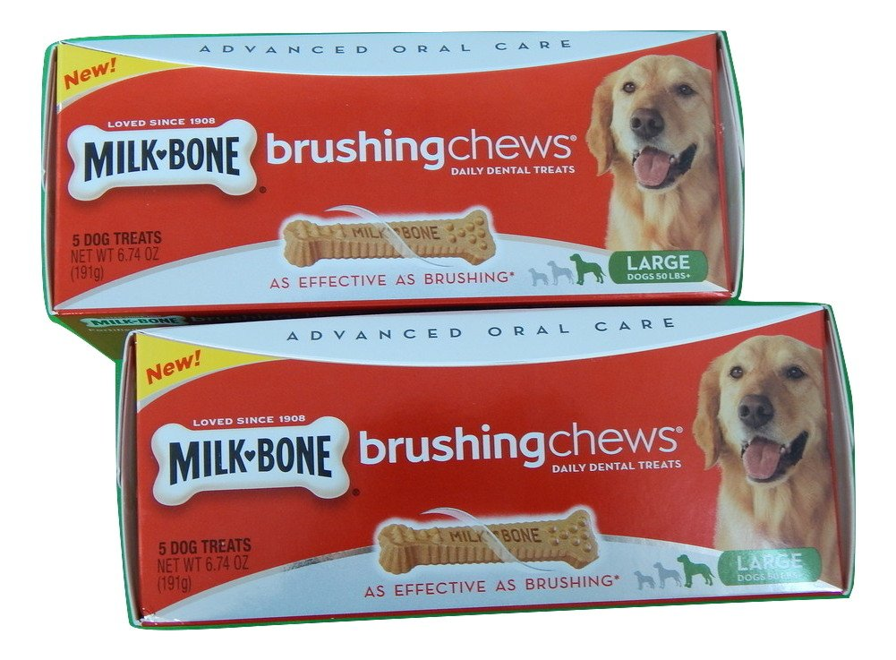Milk Bone Brushing Chews Daily Dental Treats for Large Dogs, 5-Count 6.74 Oz. Pack of 2