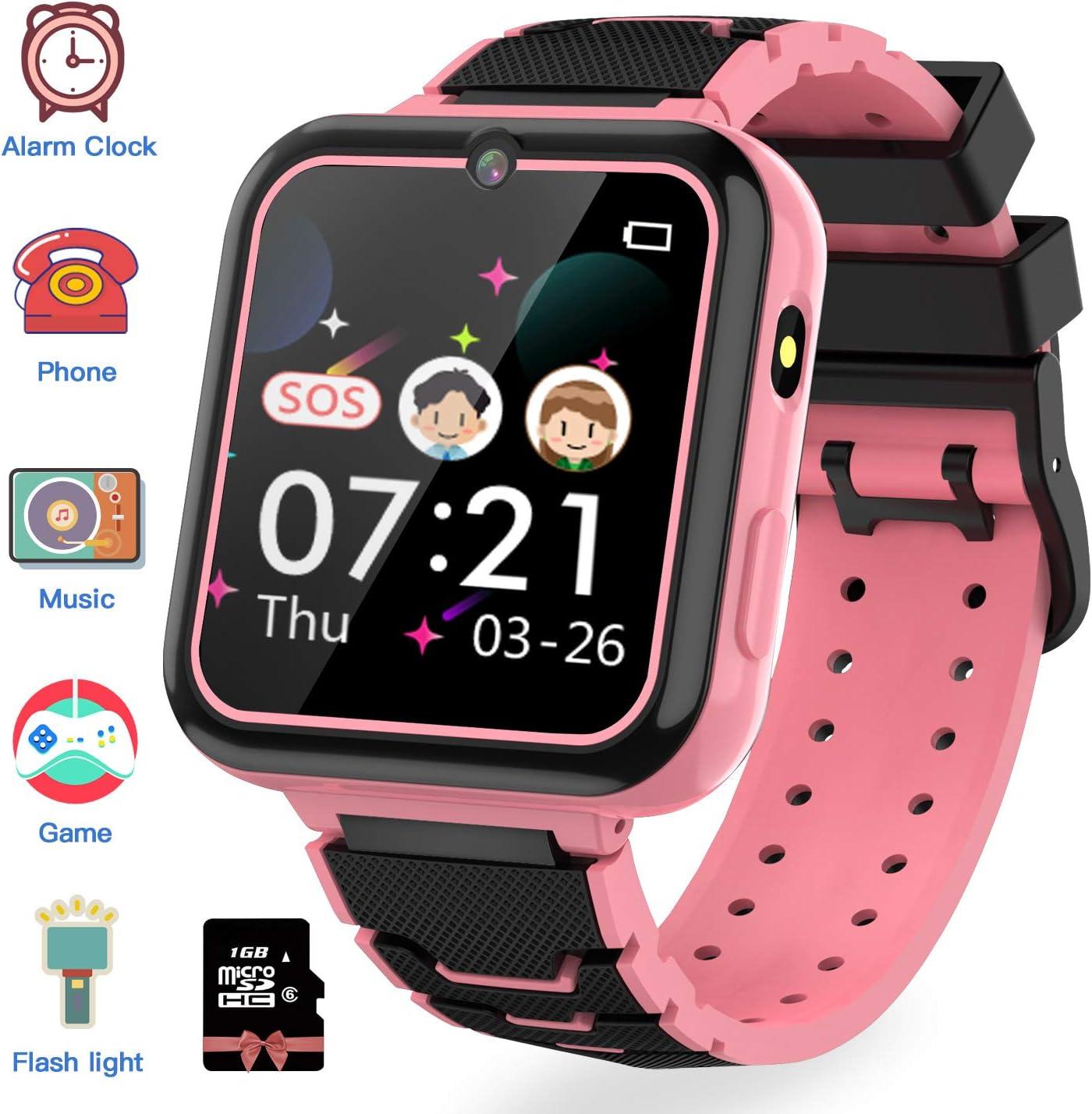 Jaybest Reloj Inteligente para Niños, Smartwatch niños con Hacer Llamada, SOS, Cámara, Música, Juegos y Despertador, Regalo para Niño Niña de 3-12 años, Rosa