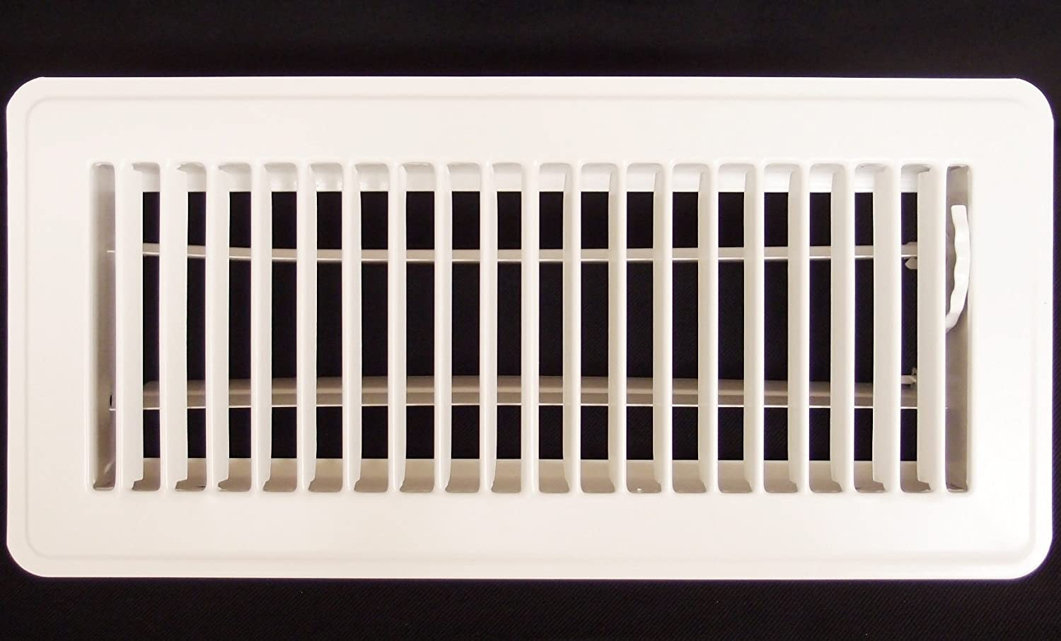"4"" X 10"" Floor Register with Louvered Design - Heavy Duty Rigid Floor Air Supply with Damper & Lever - White"