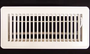 "4"" X 8"" Floor Register with Louvered Design - Fixed Blades Return Supply Air Grill - with Damper & Lever - White"