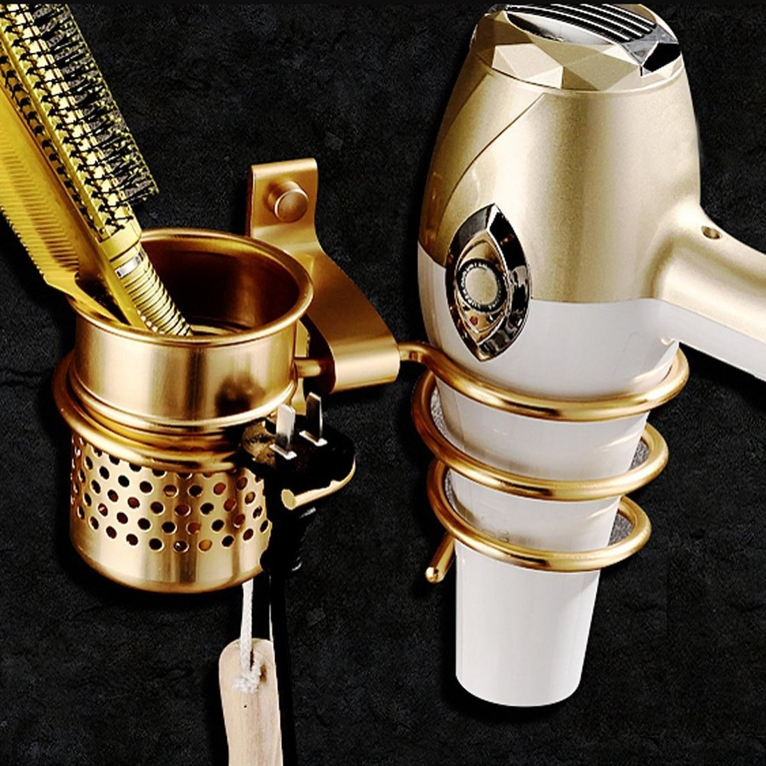 Hair Dryer Holder, Wall Mount Golden Color Hair Dryer Hanging Rack With Organizer Cup and Hook for Plug, Hair Blow Dryer Shelf for Bathroom Washroom Storage Accessories (Golden) Speeding Love