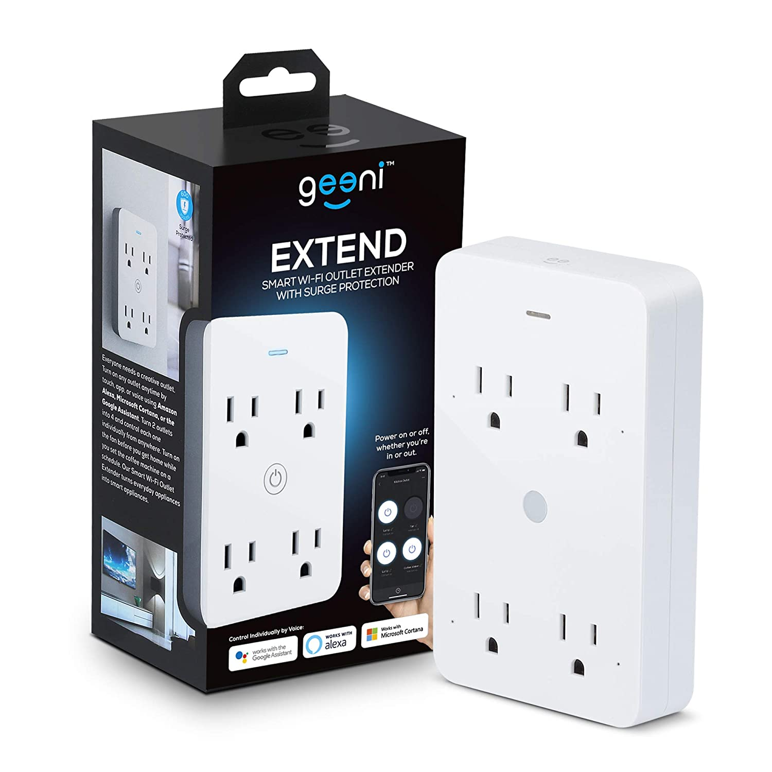 Geeni Smart Wi-Fi 4 Outlet Plug with Surge Protection, – No Hub Required – Compatible with Alexa, Google Assistant & Microsoft Cortana White – 1-Pack