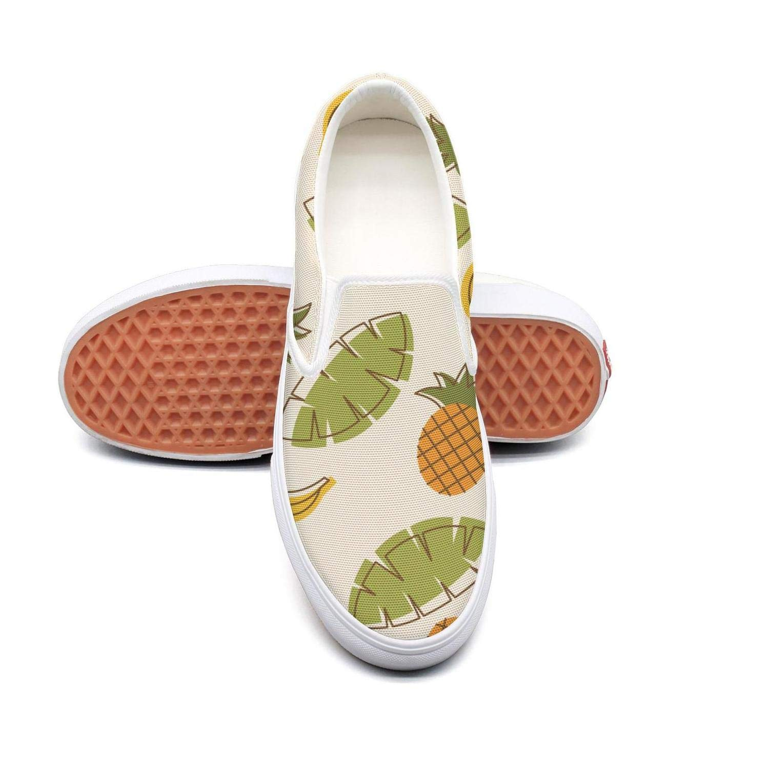 Vosda Pineapple Tropical Fruit Classic Women Canvas Slip-Ons Loafer Shoes Sneaker