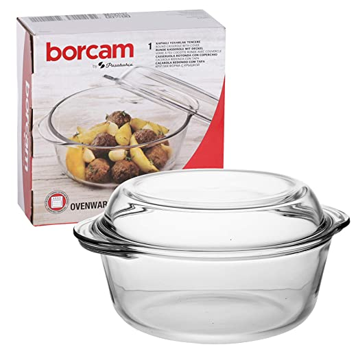 Borcam Pasabahce - Cacerola redonda para horno con tapa de cristal ...