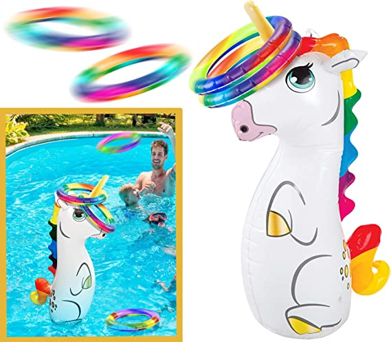 Gelentea Inflatable Ring Toss Pool Game Toys Floating Swimming Pool Ring Toss Toys Set for Fiesta Party Pool Game