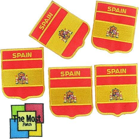 Set 5 piezas bandera de España País bordado hierro/sew on Patch: Amazon.es: Juguetes y juegos