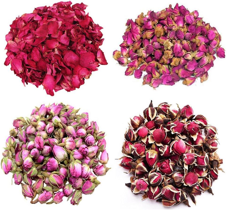 TooGet Flower Petals and Buds Variety Rose 4 Bags Includes Rose Petals, Rose Buds, Rosa Damascena, Golden-Rim Rose, Green Tea Bulk Flower to Make Botanical Oil, Kinds of Crafts