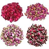 TooGet Flower Petals and Buds Variety Rose 4 Bags Includes Rose Petals, Rose Buds, Rosa Damascena, Golden-Rim Rose, Green Tea