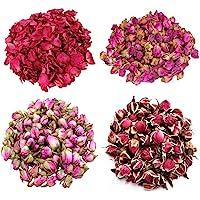 TooGet Flower Petals and Buds Variety Rose 4 Bags Includes Rose Petals, Rose Buds, Rosa Damascena, Golden-Rim Rose…