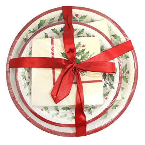 Lenox Holly Disposable Paper Plates and Napkins Gift Set ~ 56 Pieces ~ Service for 8  sc 1 st  Amazon.com & Amazon.com: Lenox Holly Disposable Paper Plates and Napkins Gift Set ...