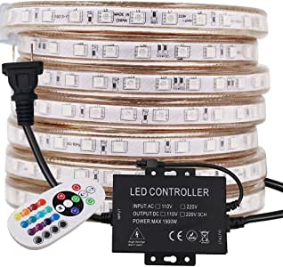 XUNATA 328ft LED RGB Rope Strip Light, AC 110V 6000 Units SMD 5050 LEDs Remote Control Multi-Color Changing Waterproof Flexible Strip Lights for Indoor Outdoor Christmas Decoration