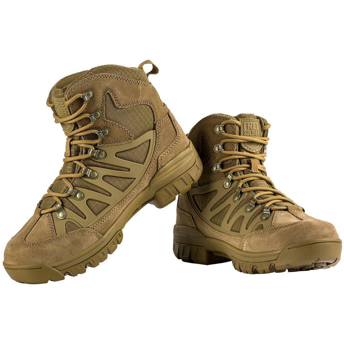FREE SOLDIER Aire Libre Hombres Botas Tácticas Transpirables Militar Senderismo Zapatos(Marrón, 45 EU 45 EU|Marrón