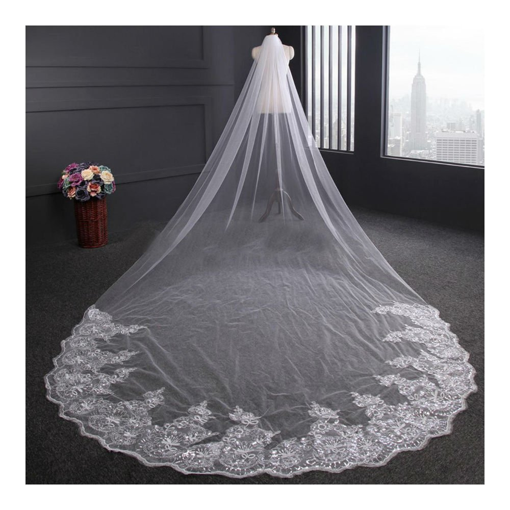 4m White / Ivory Luxury 1T Cathedral Wedding Lace Sequins Long Veil With Comb (Ivory)