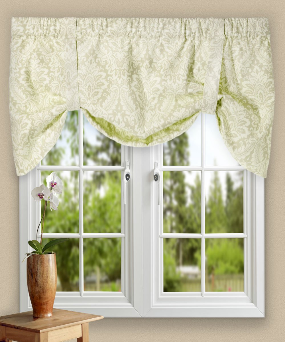 Ellis Curtain Donnington 50-by-21 Inch Lined Tie-Up Valance, Linen