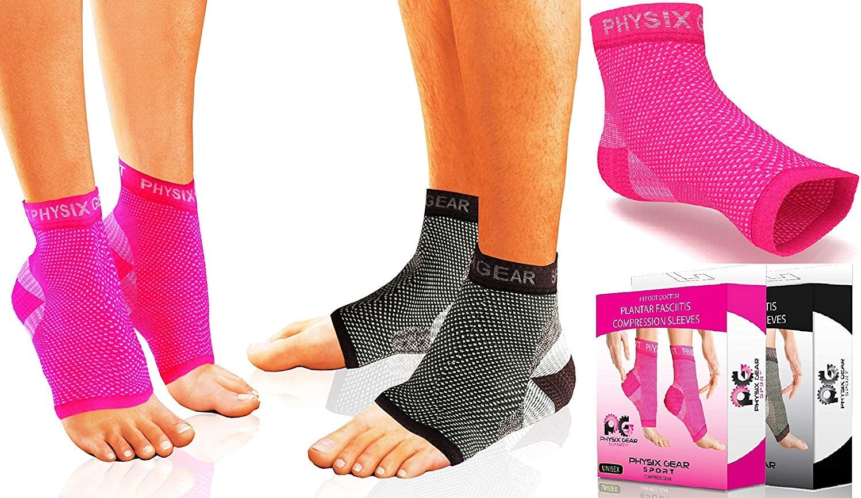 Physix Gear Sport Calcetines Fascitis Plantar, Las Mejores Medias compresión Hombre y Mujer para aliviar el Dolor de pies, Calcetines compresión para Mejorar la circulación, Media