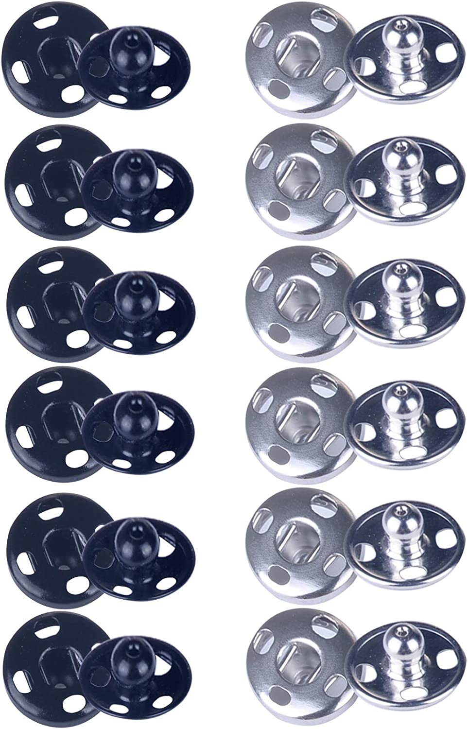 Meikeer 100 Sets Sew-on Snap Buttons Brass Snap Fastener Buttons Press Button Sew on Press Studs for Sewing Clothing Silvery and Black(10mm)