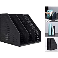 Leven Collapsible Magazine File Holder/Desk Organizer for Office Organization and Storage with 3 Vertical Compartments