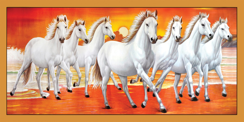Include Vastu White 7 Horse Running Painting Natural Wallpaper