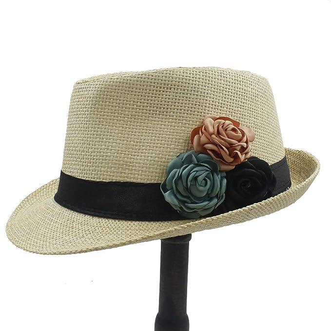 Gorros Moda Paja Mujer Playa para Sombrero Sombrero El Modernas Casual Sol Sombrero con Flor De Camelia Verano Panamá (Color: 1: 58Cm) Gorras (Color : 1, ...