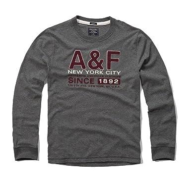 Abercrombie & Fitch - Camiseta de manga larga - para hombre Gris ...
