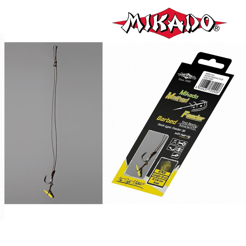 Mikado 8 x METHOD FEEDER Haken Rig `s mit Quick Stop und geflochtener Schnur in den Gr/ö/ßen 4 bis 16 erh/ältlich
