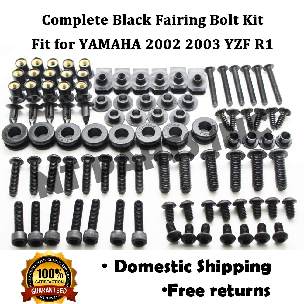 Complete Black Motorcycle Fairing Bolt Screws Fit for YAMAHA 2003-2005 YZF R6 New Hardware Kit