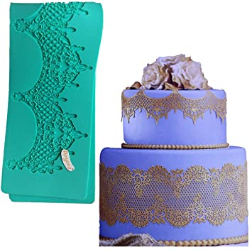 "14.5"" jewels baking Fondant sugar lace Silicone Mat wedding Cake Decorating mold chandelilac edible Lace"