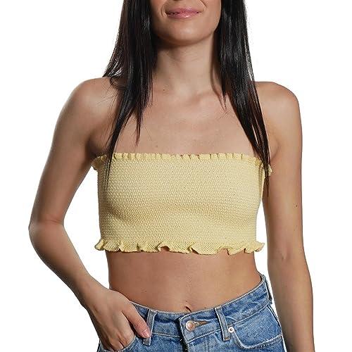 JUANA LA LOCA AND THE VICTORIANS - Mujer top Strapless crop moda Bralette sin mangas palabra de hono...