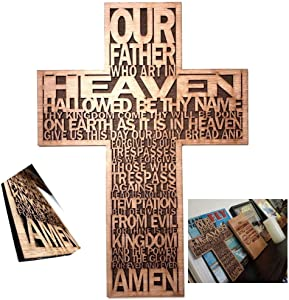 Inspired life Ideas Lords Prayer Wood Christian Wall Cross Hand Made Bible Faith Wall Decor for That Rustic but Decorative Feel- for Home, Office, or Just About Anywhere (Natural Stain & Sealed)