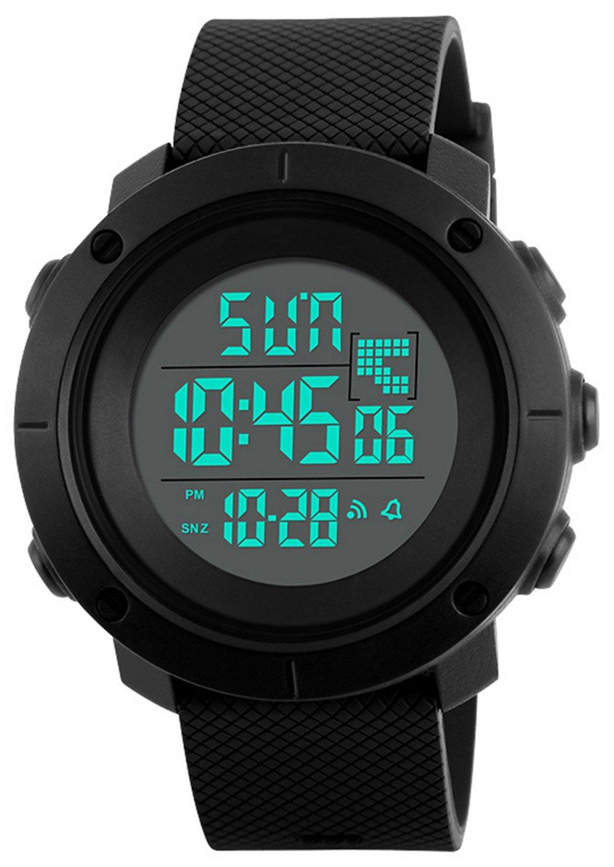 Digital Sports Watch Electronic Waterproof LED Military Black Men's Teen Boy's Watch (Black)