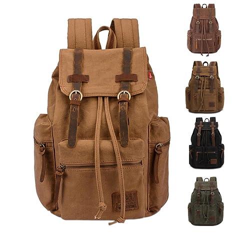 97e2daa883 Tulas Vintage Men Casual Canvas Leather Backpack Rucksack Satchel Hiking Bag  School Bag (ArmyGreen)