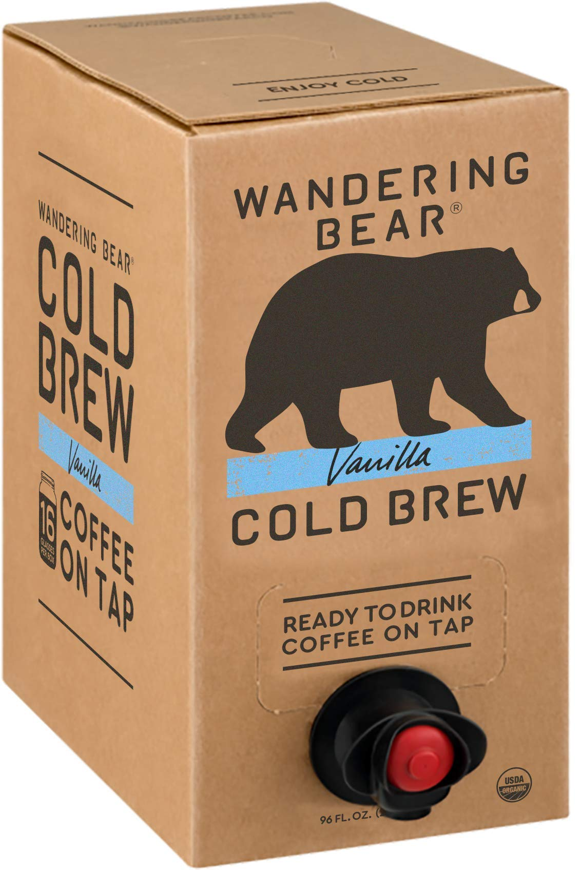Wandering Bear Organic Cold Brew Coffee On Tap, Vanilla, No Sugar, Always Fresh and Ready to Drink, Not a Concentrate, 96 fl oz
