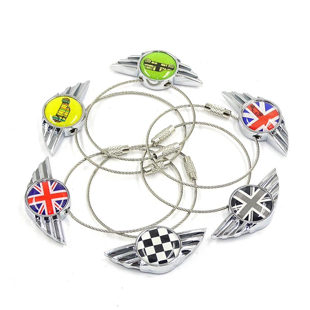 iJDMTOY Chrome Polished Alloy Metal Classic Red//Blue UK Union Jack Wing Shape Key Chain Ring Keychain for All Mini Cooper R50 R52 R53 R54 R56 R57 R58 R59 R60 R61 F54 F56 F60 etc