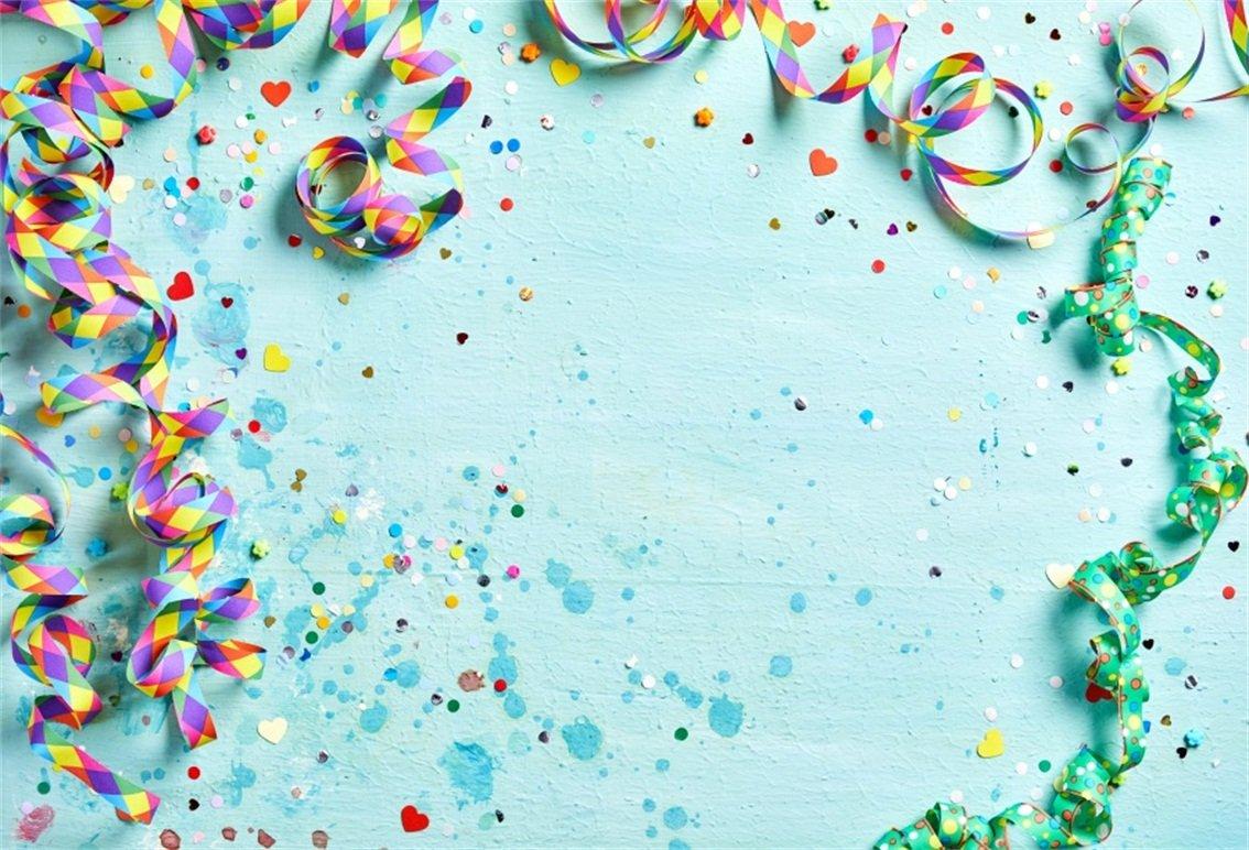 CSFOTO 5 x 3フィート 背景 カラーリボン紙吹雪 誕生日パーティー 装飾 写真背景 抽象記念日 結婚式 卒業式 オーナメント お祝い 写真スタジオ小道具 ビニール壁紙   B07G9R3TC5