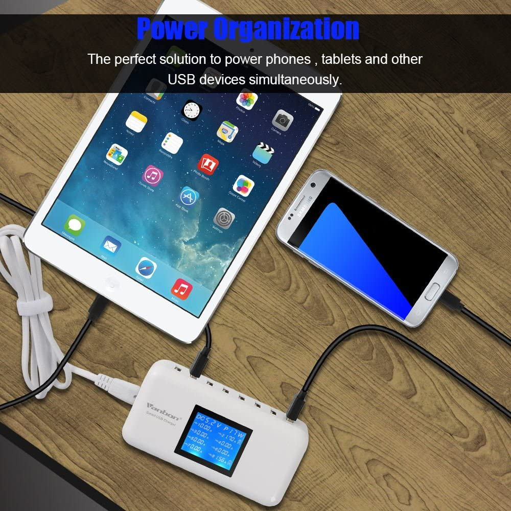 Tablet and Multiple Devices Vanbon 60W 8-Port USB Wall Charger Multi Port USB Charger Charging Station W//LCD Compatible with Smart Phone